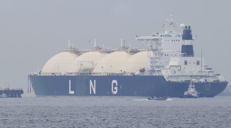 In this file photo, Liberian LNG tanker Al Hamra arrives at a port in Yokohama, southwest of Tokyo,  Monday, April 21, 2014. (Koji Sasahara/AP Photo)