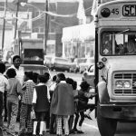 Children board buses in the center city of an unknown location to go to outlying schools on Dec. 10, 1971. Busing children as a means of achieving school integration grew into one of 1971's major domestic stories. (AP Photo)