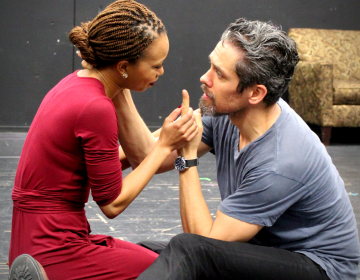 Nondumiso Tembe as Cleopatra and Neal Bledsoe as Marc Antony in rehearsal for Pennsylvania Shakespeare Festival's production of 'Antony and Cleopatra' opening for previews Wednesday. (Pennsylvania Shakespeare Festival)