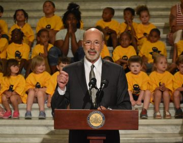 Pennsylvania Gov. Tom Wolf speaks in the Capitol rotunda in June 2019. (Ed Mahon/PA Post)