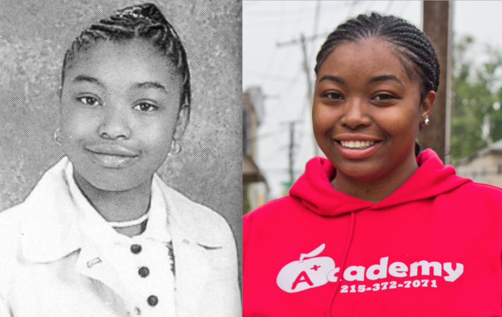 Former KIPP Philadelphia student Deena Swann, shown here at ages 12 and 26. (KIPP 2004-05 yearbook (left), Kim Paynter/Keystone Crossroads)