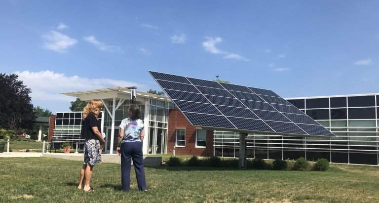The Lombardo Welcome Center at Millersville University produced 75 percent more energy than it consumed in 2018. (Marie Cusick/StateImpact Pennsylvania)