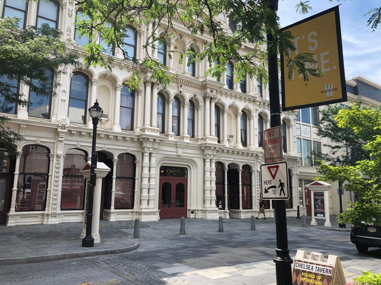 Public defender Timothy Weiler was stabbed by a former client Friday as he approached the Grand Opera House in Wilmington's central business district. (Cris Barrish/WHYY)