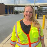Tina Hylton says cleaning up trash on the streets of Wilmington has helped her stay sober. She's part of a pilot program called Work-a-Day Earn-a-Pay that's being expanded statewide. (Mark Eichmann/WHYY)