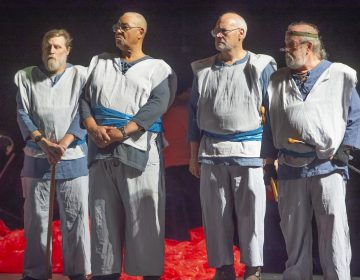 Four veterans portray soldiers in the Shakespeare in Clark Park production of King Lear; (from left) Nelson Hawthorne, Floyd Crump Jr., Sheldon Rich and John Kearney. (Jonathan Wilson for WHYY)