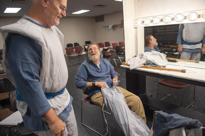 Sheldon Rich (left) and Nelson Hawthorne in the dressing room prior to the dress rehearsal of King Lear. (Jonathan Wilson for WHYY)
