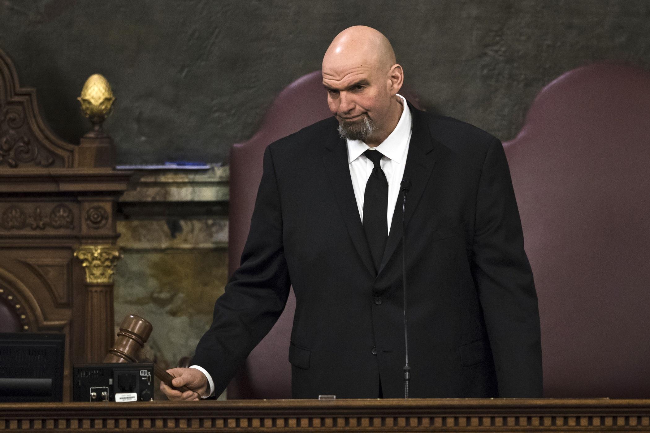 Lt. Gov. John Fetterman gavels in a joint session of the Pennsylvania House and Senate