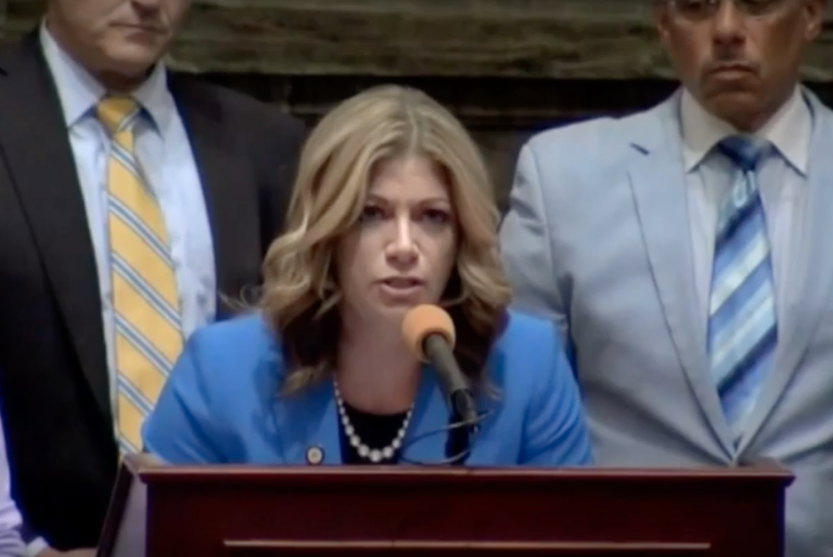 Pa. Sen. Katie Muth reading a letter from a homeless man on the Senate floor in Harrisburg. (Youtube/CBS Pittsburgh)