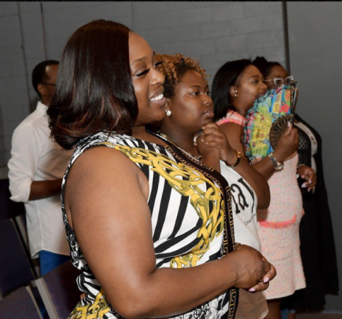 Truth Church Worship Center members gather during Sunday service (Marissa Weekes Mason/The Philadelphia Tribune)