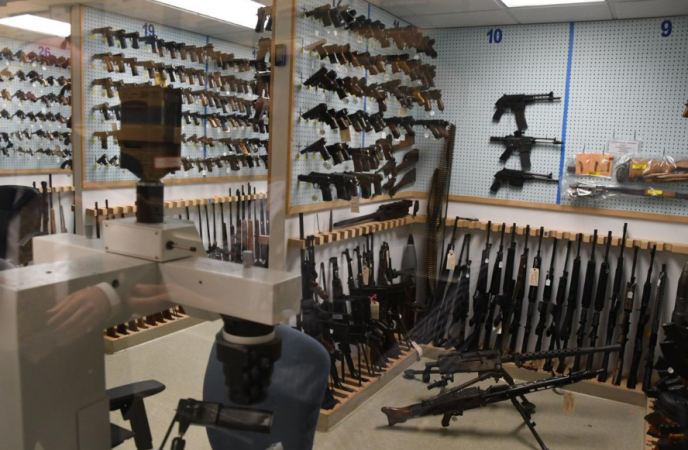 A view inside the gun archive room in the basement of the Philadelphia Police Department's Forensic Science Center (Abdul Sulayman/The Philadelphia Tribune)