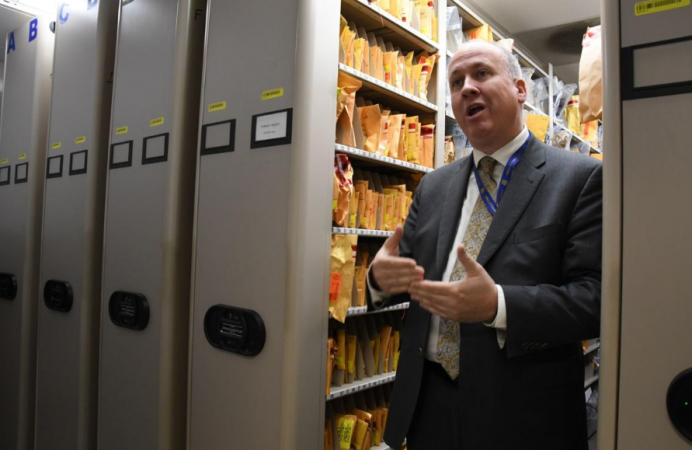 Michael Garvey, director of the Philadelphia Police Department's Office of Forensic Science stands inside an evidence room inside the department's Forensic Science Center in June (Abdul Sulayman/The Philadelphia Tribune)