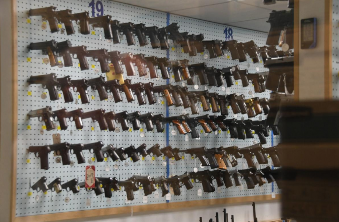 Firearms line the walls of the gun archive room in the basement of the Philadelphia Police Department's Forensic Science Center (Abdul Sulayman/The Philadelphia Tribune)