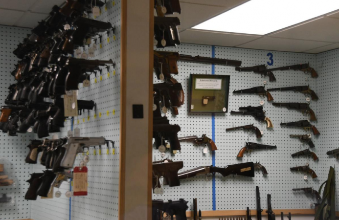 The gun archive in the Philadelphia Police Department's Forensic Science Center office holds hundreds of firearms of all types and caliber sizes, including handguns, AK-47s, Uzis, and shotguns. (Abdul Sulayman/The Philadelphia Tribune)