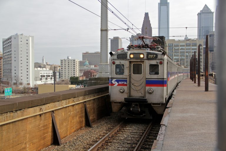 A train pulling into 30th Street Station. (Emma Lee/WHYY)