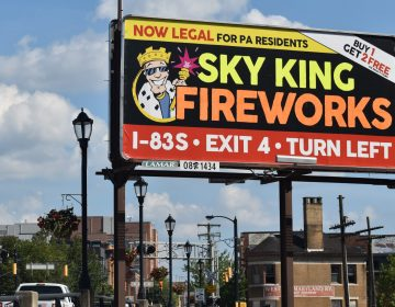 A billboard in York city, seen on July 10, 2019, highlights a change in Pennsylvania that made consumer fireworks legal for Pennsylvania residents. (Ed Mahon/PA Post)
