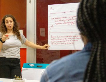 Kat Engleman presents to members of the Youth United for Change alumni chapter on North Front Street on June 21, 2019. (Photo by Mohammad Alkhalaf)