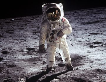 (July 20, 1969) Astronaut Buzz Aldrin, walks on the surface of the Moon during the Apollo 11 extravehicular activity. Astronaut Neil A. Armstrong took this photograph with a 70mm lunar surface camera.