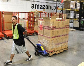 Humberto Manzano, Jr., delivers an arriving pallet of goods at an Amazon.com fulfillment center in Phoenix.  (AP Photo/Ross D. Franklin, file)