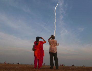 An Indian heavy rocket lifts off from Satish Dhawan Space Centre in Sriharikota. The same site will launch India's latest lunar mission, Chandrayaan-2, early next week. (R. Parthibhan/AP Photo)