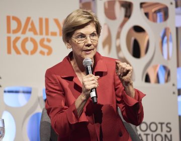 Sen. Elizabeth Warren speaks at the Netroots Nation candidate forum. (Natalie Piserchio for NPR)