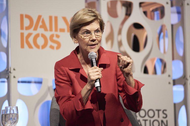 Sen. Elizabeth Warren speaks at the Netroots Nation candidate forum. (Natalie Piserchio for NPR)