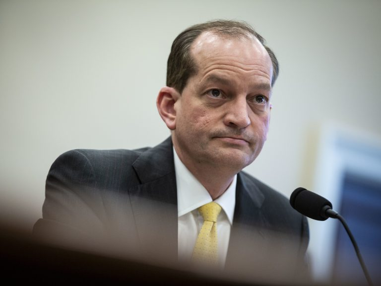 Labor Secretary Alexander Acosta testifies during a House Appropriations Committee hearing on April 3. (Al Drago/Getty Images)