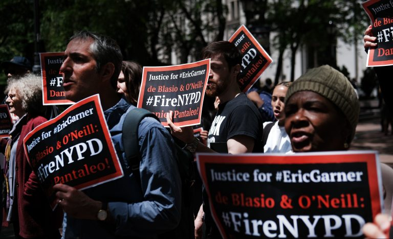 Protesters gathered outside of Police Headquarters in Manhattan in May to protest during the police disciplinary hearing for Officer Daniel Pantaleo, who was accused of using a chokehold that led to Eric Garner's death in 2014.
