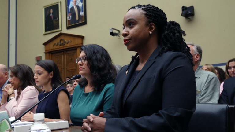 Reps. Veronica Escobar, D-Texas (left), Alexandria Ocasio-Cortez, D-N.Y., Rashida Tlaib, D-Mich., Ayanna Pressley, D-Mass., attend a House oversight hearing on conditions for detained migrants at the U.S.-Mexico border. (Win McNamee/Getty Images)