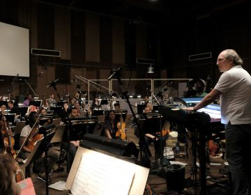 Hans Zimmer, Matt Jones of the Re-Collective Orchestra and conductor Nick Glennie-Smith at a scoring session for Disney's The Lion King. (Alberto Rodriguez/Disney Enterprises, Inc.)