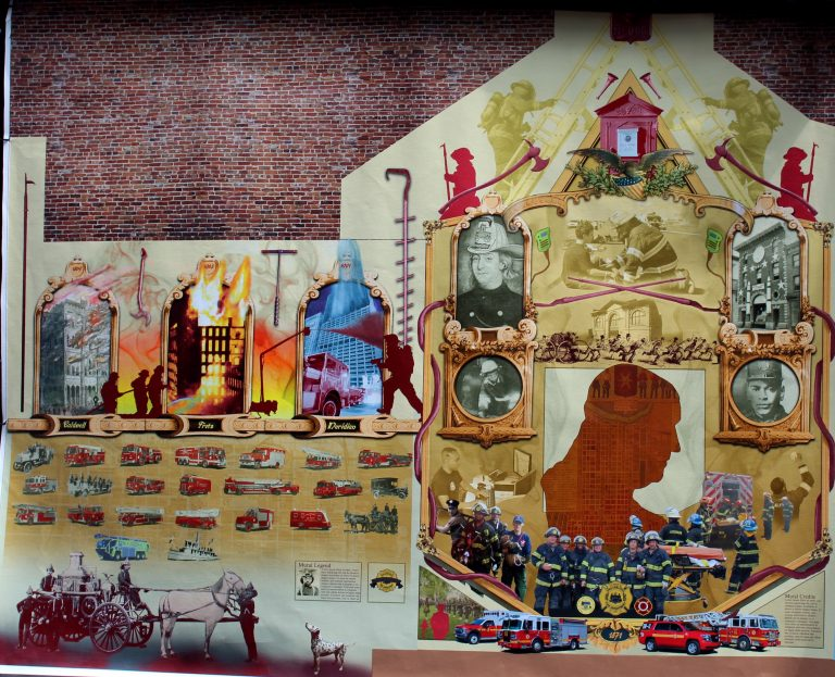 Ladder 2 Fire Station unveiled the design for a new mural that will be painted by Eric Okdeh. (Anannya Kundu for WHYY)