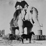 Lucy the Elephant in 1895 stands at Atlantic Avenue and  Decatur Street, Margate City, N.J. (Library of Congress)