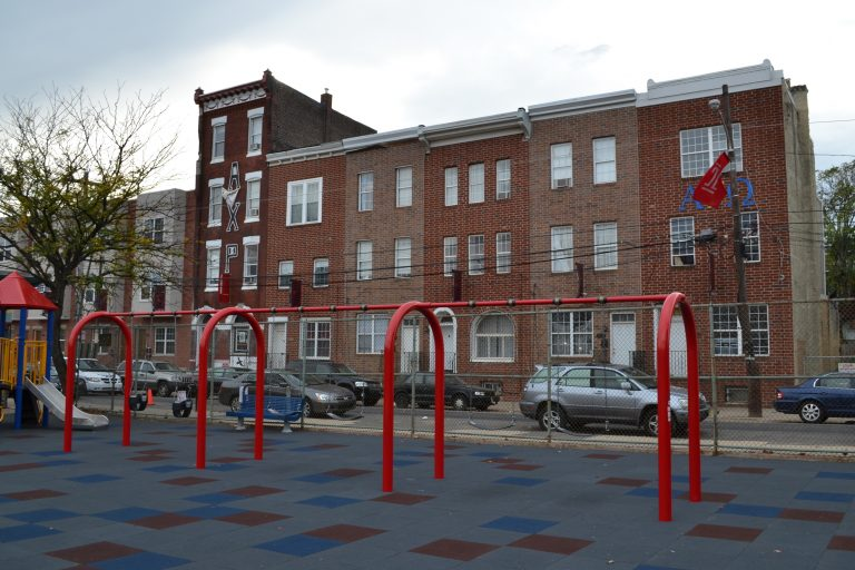 Philadelphia Parks and Recreation and Council President Clarke unveiled the newly renovated Amos Playground (PlanPhilly, file)