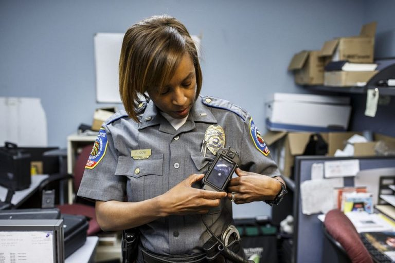 Susquehanna Township police Lt. Francia Done shows a Motorola body camera. May 15, 2019. (Dan Gleiter/PennLive)