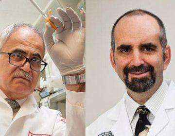 Dr. Kamel Khalili in his lab at Temple; Dr. Howard Gendelman in Nebraska (Ed Cunicelli/Temple Hospital; University of Nebraska Medical Center)
