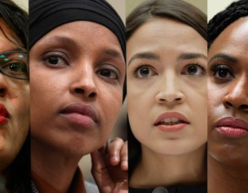 In this combination image (from left) Rep. Rashida Tlaib, D-Mich., July 10, 2019, Washington, Rep. Ilhan Omar, D-Minn., March 12, 2019, in Washington, Rep. Alexandria Ocasio-Cortez, D-NY., July 12, 2019, in Washington, and Rep. Ayanna Pressley, D-Mass., July 10, 2019, in Washington. In tweets Sunday, President Donald Trump portrays the lawmakers as foreign-born troublemakers who should go back to their home countries. In fact, the lawmakers, except one, were born in the U.S. (AP Photo)