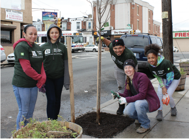 Volunteers working with a city Tree Tenders group plant trees in Hunting Park. (City of Philadelphia)
