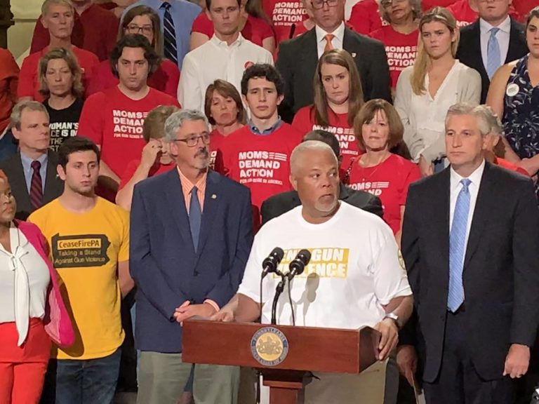 State Sen. Anthony Williams, D-Philadelphia, speaks at a rally to change Pennsylvania's gun laws at the statehouse in Harrisburg Wednesday, Aug. 7, 2019. (Emily Previti/PA Post)