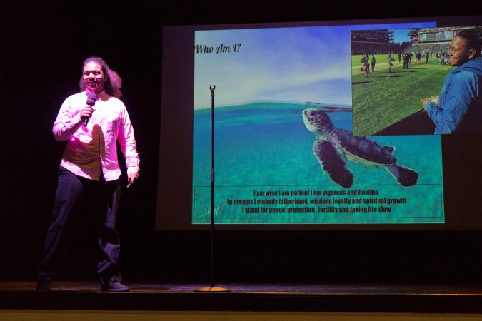 During Josh Martinez's presentation, he said his spirit animal is a sea turtle. (Kimberly Paynter/Keystone Crossroads)