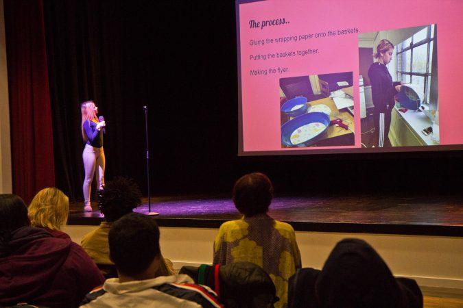 Julia 'JuJu' Grabski presenting her legacy project. (Kimberly Paynter/Keystone Crossroads)