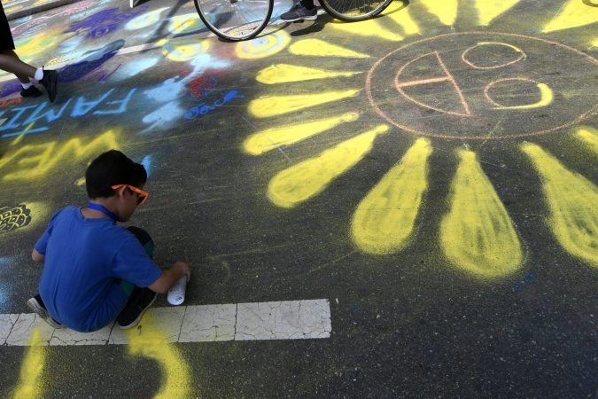North Broad Street became a canvas for many during Philly Free Streets on Saturday. (Bastiaan Slabbers for WHYY)