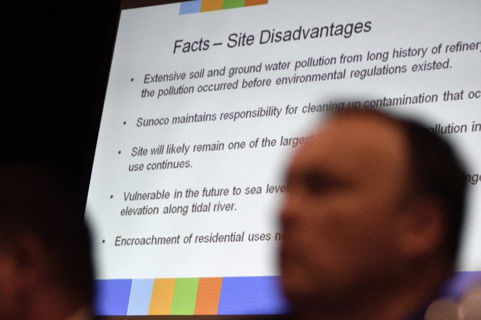 A presentation given by the city's advisory group touches on topics regarding the past and current status as well as  what to do going forward regarding the Philadelphia Energy Solutions site (Bastiaan Slabbers for WHYY)