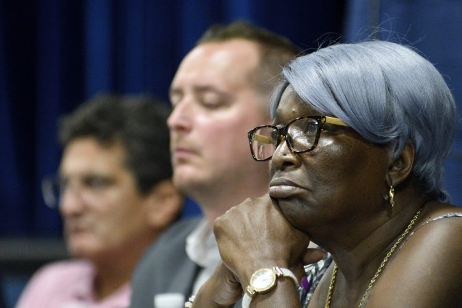 Irene Russell a local resident representing Philly Thrive during the first public meeting of the Philadelphia Energy Solutions refinery advisory group (Bastiaan Slabbers for WHYY)