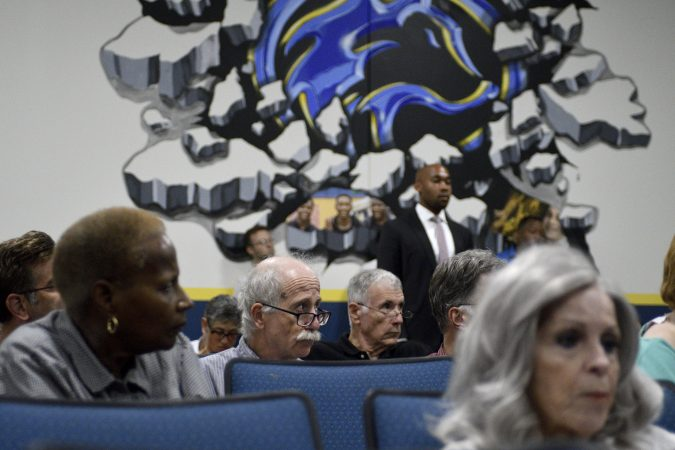 Community members in the audience listen during the first public meeting of the Philadelphia Energy Solutions refinery advisory group (Bastiaan Slabbers for WHYY)