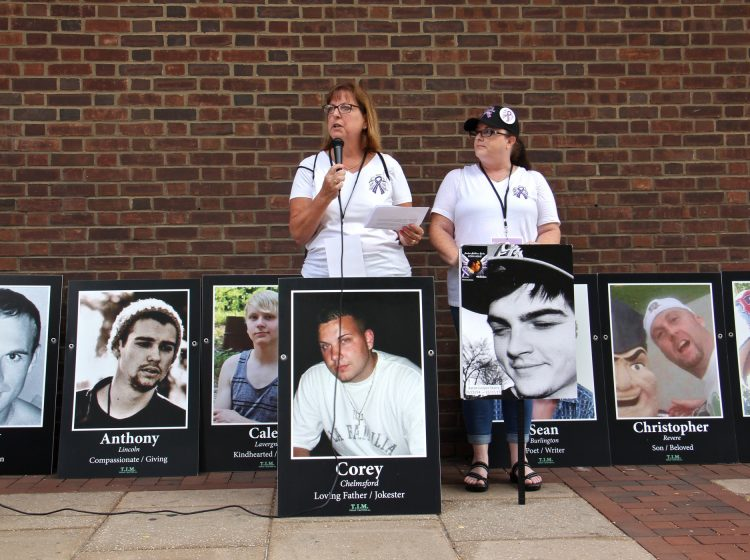 Cheryl Juaire (left) and Tracy Martin of Team Sharing, a national support group for parents of overdose victims, speak at a rally outside the federal courthouse in Philadelphia in support of supervised injection sites. (Emma Lee/WHYY)
