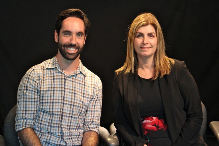 Daniel Semenza, an assistant professor at the Department of Sociology, Anthropology, and Criminal Justice at Rutgers, and Ilene M. Rosen, Associate Professor of Medicine at the University of Pennsylvania and a past president of the American Academy of Sleep Medicine. (Emma Lee/WHYY)