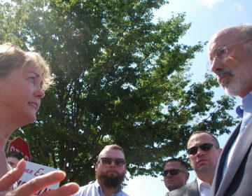 Rosemary Fuller, an anti-pipeline activist, urged Gov. Tom Wolf to halt construction of the Mariner East pipelines. (Jon Hurdle/StateImpact Pennsylvania)