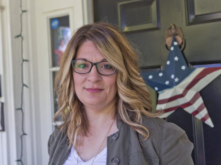 Christa Hayburn, a former PPD officer, at her home in Philadelphia. (Kimberly Paynter/WHYY)