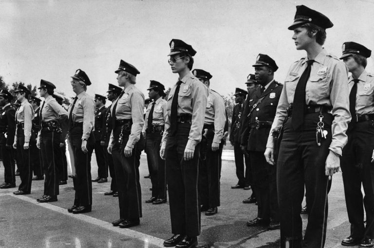 Women officers are graduated from the Philadelphia Police Academy on October 9, 1976. (James A. Craig/Special Collections Research Center, Temple University Libraries, Philadelphia, PA)