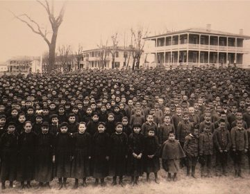 The students of the Carlisle Indian School are amassed on the grounds of the school in March of 1892. (Photo by John N. Choate/Provided by Cumberland County Historical Society Photo Archives)