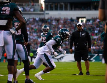 Philadelphia Eagles running back Miles Sanders runs drills on the field during open practice at Lincoln Financial Field on Sunday, August 4, 2019. (Kriston Jae Bethel for WHYY)